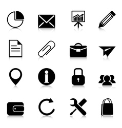 Business icons with reflection vector image vector image
