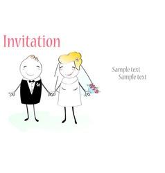 cartoon wedding invitation vector image vector image