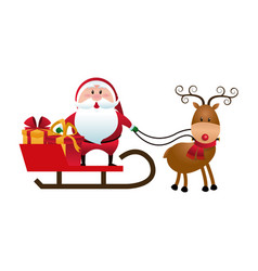 christmas santa claus reindeer sledge gifts vector image