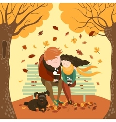Couple sitting on bench and drink coffee vector image vector image