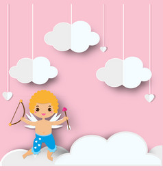 Cute cupid boy with arrows standing on clouds in vector