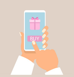 gift app page on smartphone screen with man hands vector image vector image