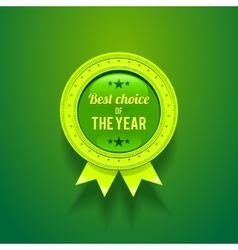 Green glossy badge vector
