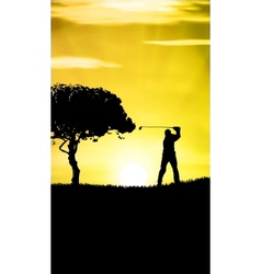 Guy playing golf vector