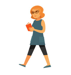 Happy woman walking with book vector