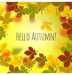 Hello autumn leaves vector