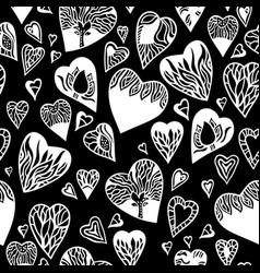 Love pattern with hand drawn doodle hearts vector