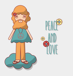 man in cloud peace and love vector image