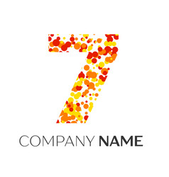 Number seven with orange yellow red particles vector