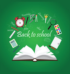 Open book with back to school creative design vector