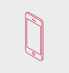 outline isometric smart phone icon vector image