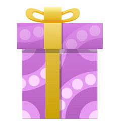 Package wrapped in colorful paper with purple dots vector