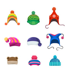 pompons winter hats set vector image