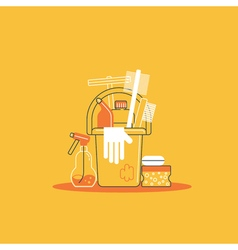 Products for cleaning home house chores bucket and vector image vector image