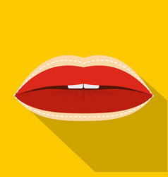 Red lips with lines drawn around it icon vector