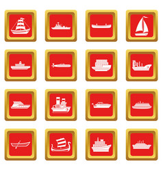 Sea transport icons set red vector