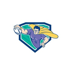 Superhero rugby player scoring try crest vector