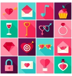 Valentines day colorful icons vector