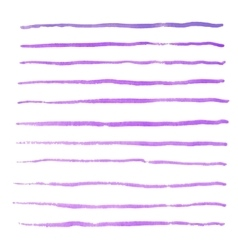 Watercolor stripes strokes purple brushes vector image vector image
