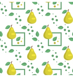 Seamless pattern with green pears and leaves vector
