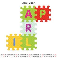 April 2017 puzzle calendar vector image