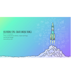 Sketched rocket launch concept vector