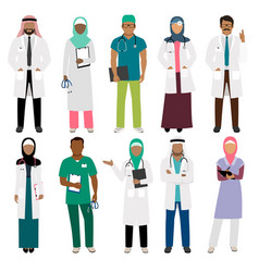 African doctor and arab nurse characters vector