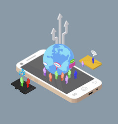 Isometric people chatting to other through vector