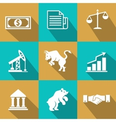 Financial icons in trendy flat style vector