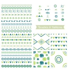 Set of decorative elements brushes border vector