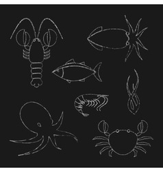 Chalk seafood icons set vector