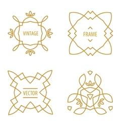 Set of elegant lineart logo design elements vector