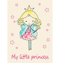 Fairy tale princess greeting card vector