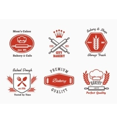 Bakery cafe bistro logo set vector