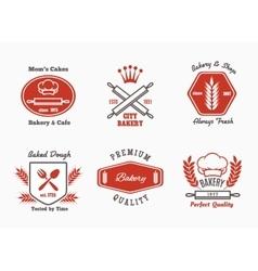 Bakery cafe bistro logo set vector image