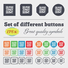Qr code icon sign big set of colorful diverse vector