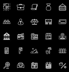 Mortgage and home loan line icons on black vector