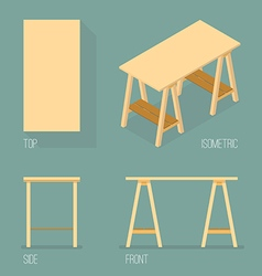 Set of modern office table isometric drawing vector