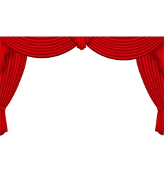 Red silk curtain isolated background vector