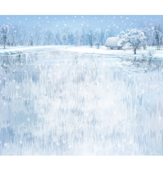 Winter lake house vector
