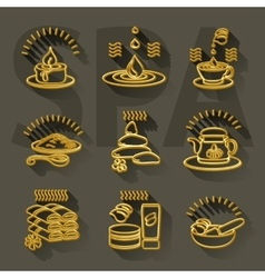 Outline set spa theme icons on dark background vector
