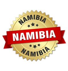Namibia round golden badge with red ribbon vector