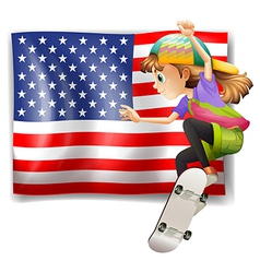A female skater near the usa flag vector
