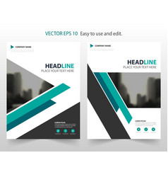 blue triangle annual report brochure design vector image vector image