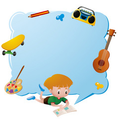 border template with boy reading book vector image