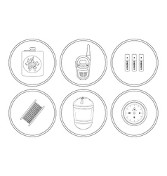 Camping icons set Linear vector image