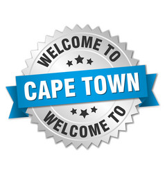 Cape town 3d silver badge with blue ribbon vector
