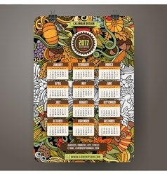 Cartoon doodles thanksgiving 2017 year calendar vector