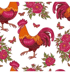 Cock flower pattern vector