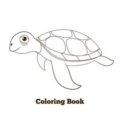 Coloring book turtle sea animal vector